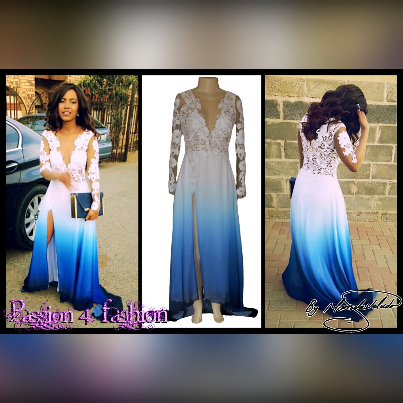 Gorgeous blue and white ombre flowy ceremony dress 3 a gorgeous blue and white ombre flowy ceremony dress created for a prom night. With a classy white bodice with elegant illusion lace sleeves. With a slit and a train