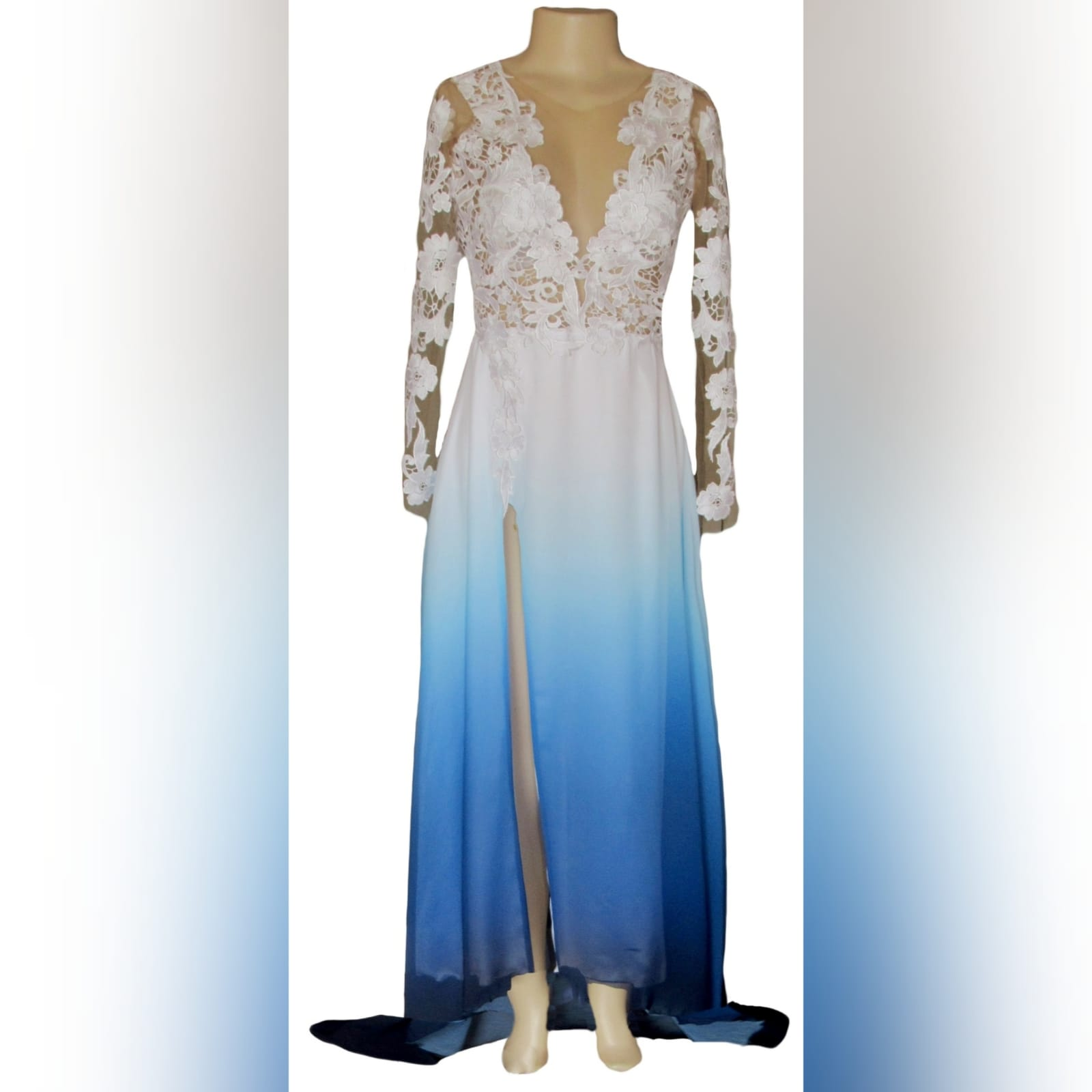 Gorgeous blue and white ombre flowy ceremony dress 4 a gorgeous blue and white ombre flowy ceremony dress created for a prom night. With a classy white bodice with elegant illusion lace sleeves. With a slit and a train