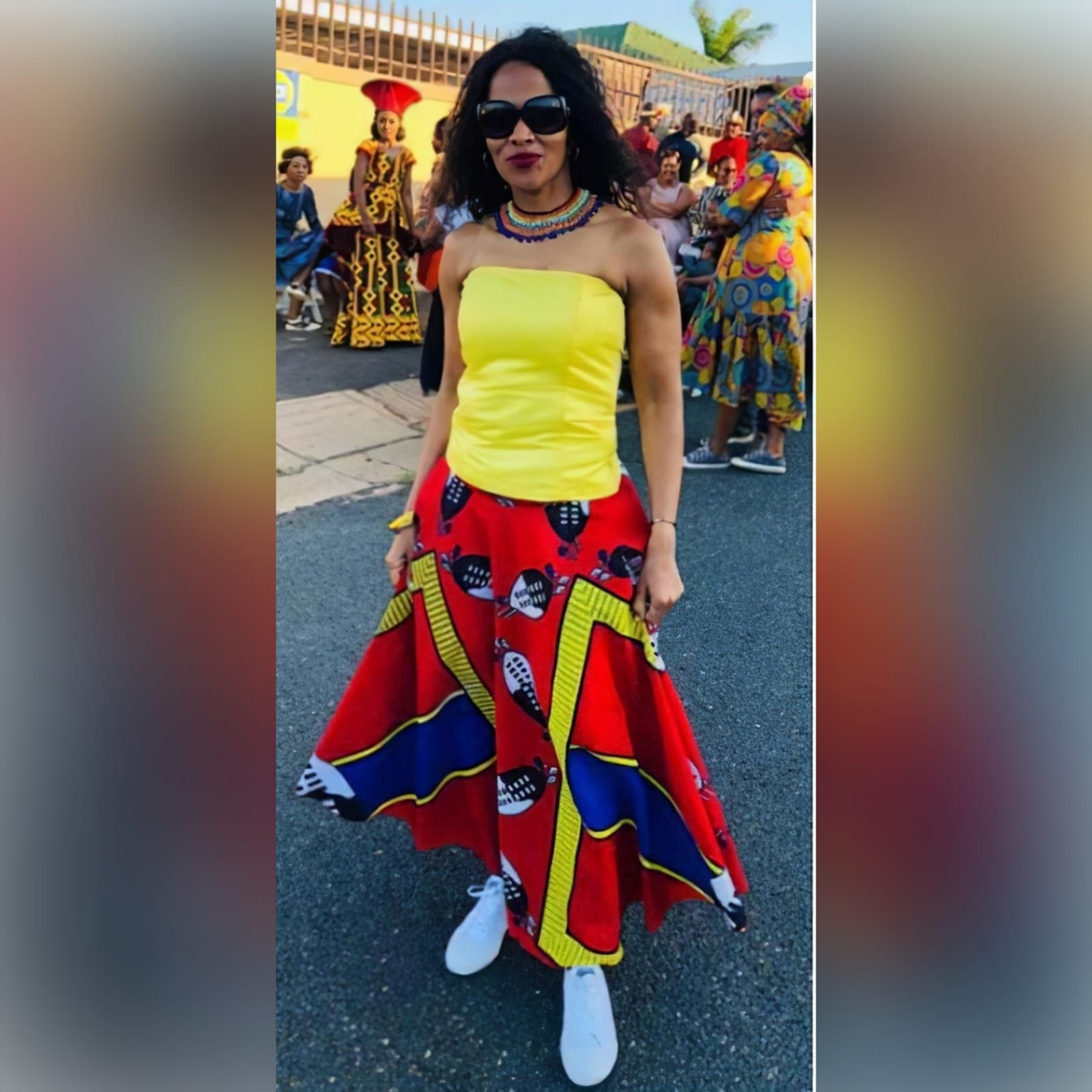 African traditional 2 piece outfit skirt and top 1 african traditional 2 piece outfit skirt and top. Red swati wide skirt with a high waisted effect. Boobtube yellow satin top with a lace-up back
