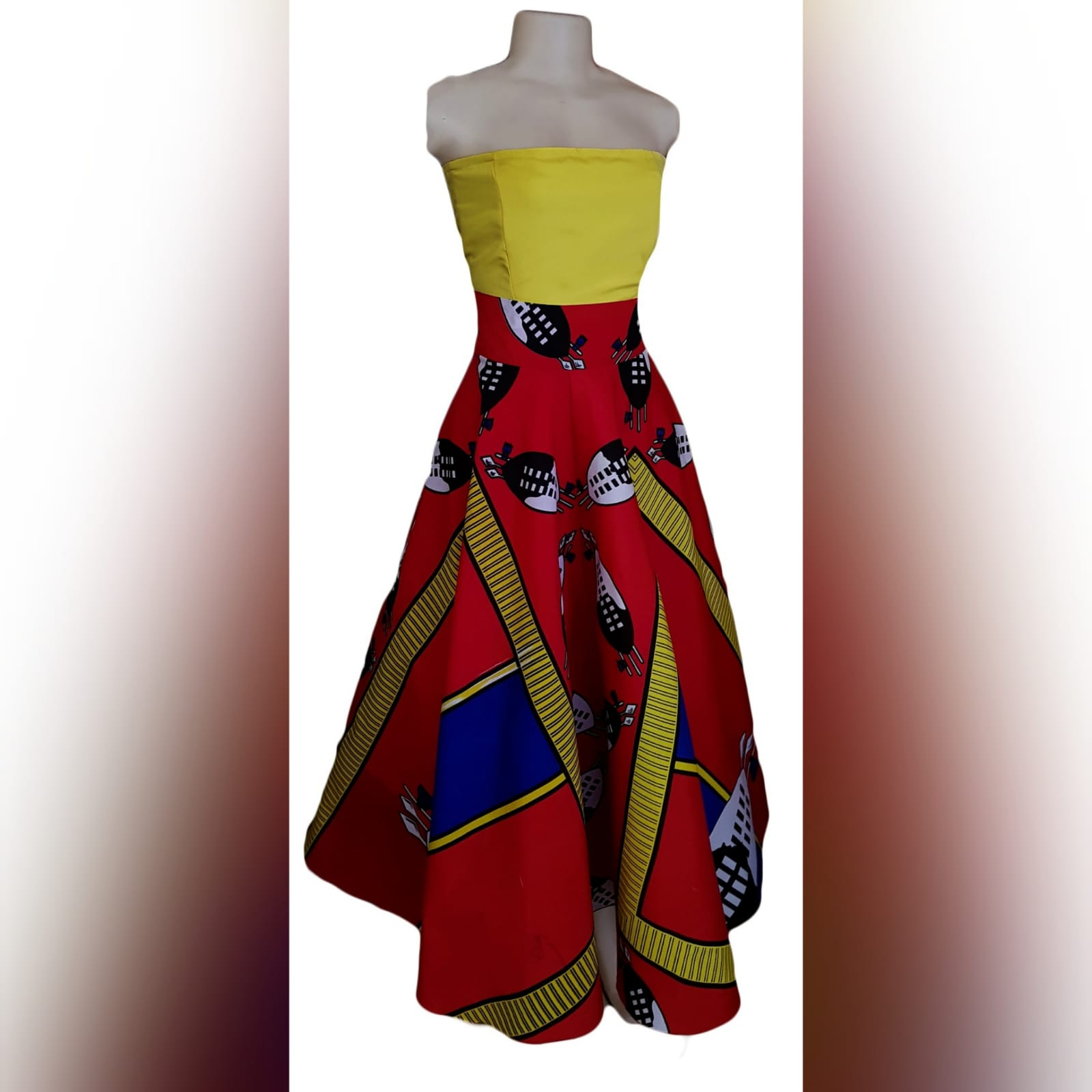 African traditional 2 piece outfit skirt and top 6 african traditional 2 piece outfit skirt and top. Red swati wide skirt with a high waisted effect. Boobtube yellow satin top with a lace-up back
