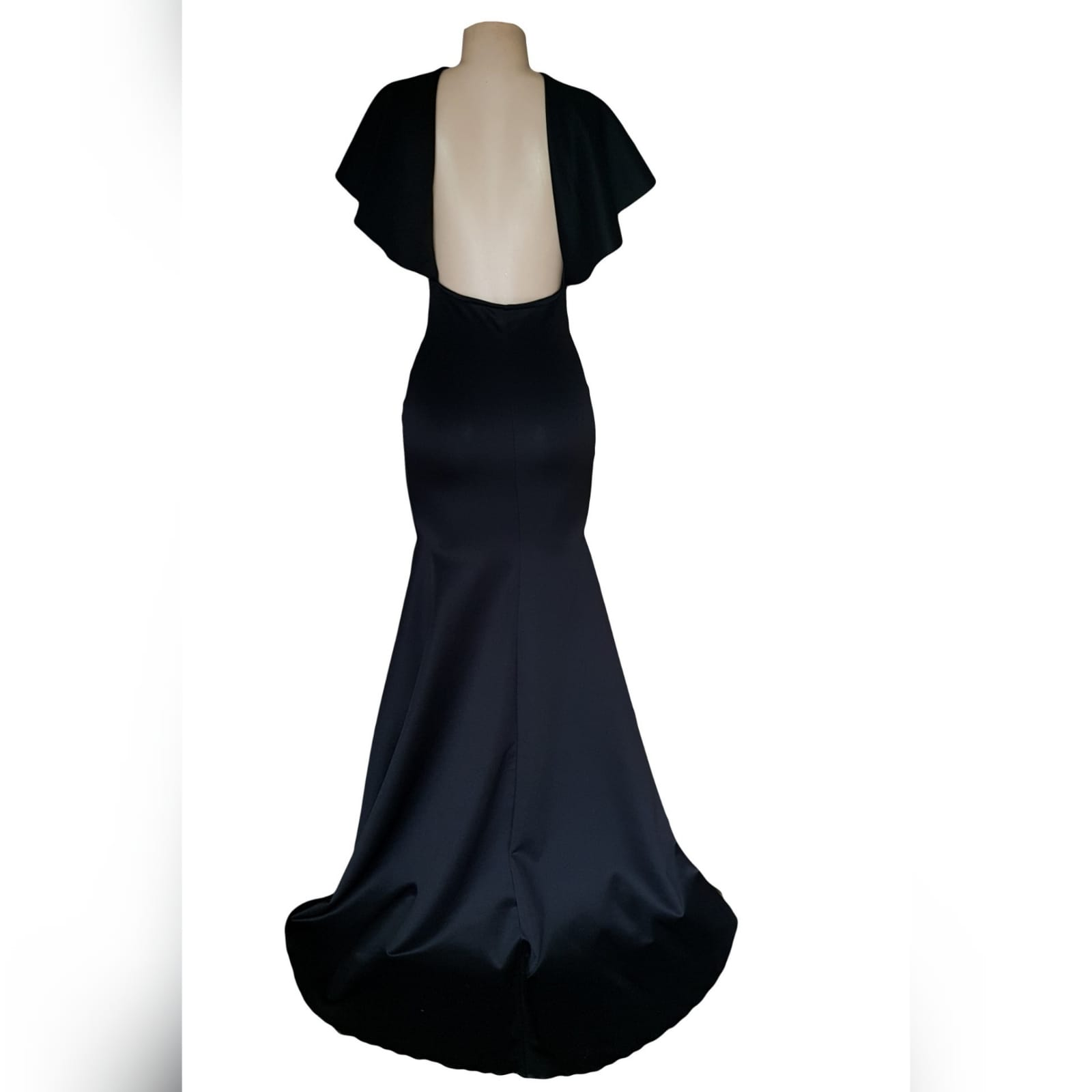 Black soft mermaid simple elegant evening dress 9 black soft mermaid simple elegant evening dress, made for prom night. With a plunging neckline, naked back, wide loose sleeves effect and a train