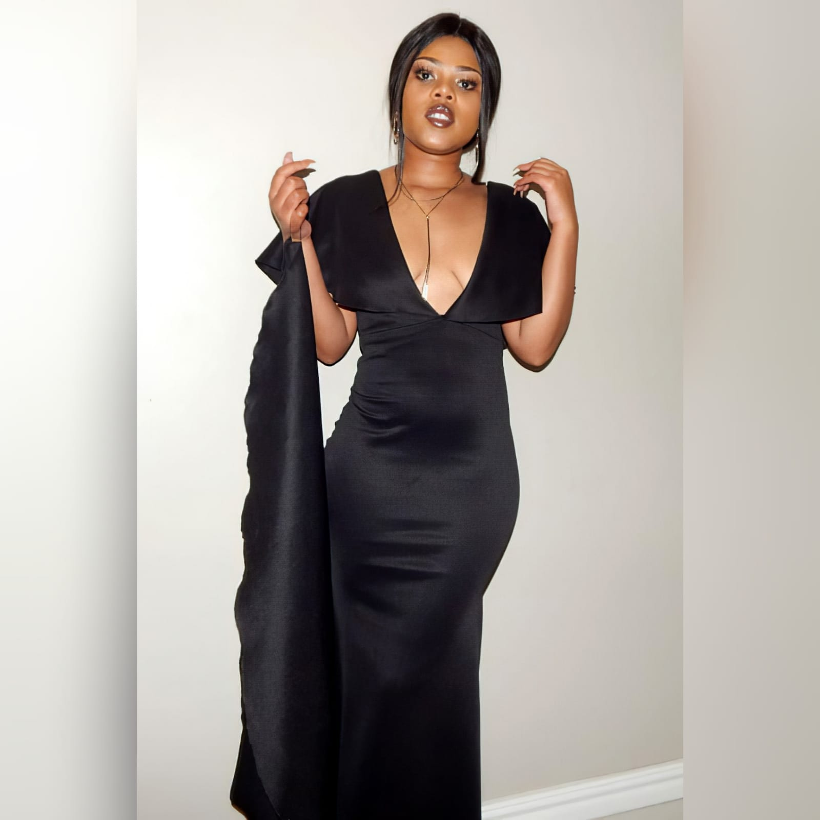 Black soft mermaid simple elegant evening dress 5 black soft mermaid simple elegant evening dress, made for prom night. With a plunging neckline, naked back, wide loose sleeves effect and a train