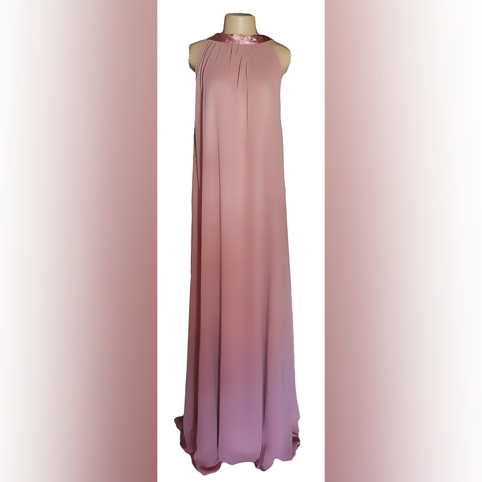 Long pink chiffon ceremony dress created for a wedding 8 long pink chiffon ceremony dress created for a wedding, a client in south africa. A long flowy dress with a satin ribbon on the back neckline. With a matching lipstick bag