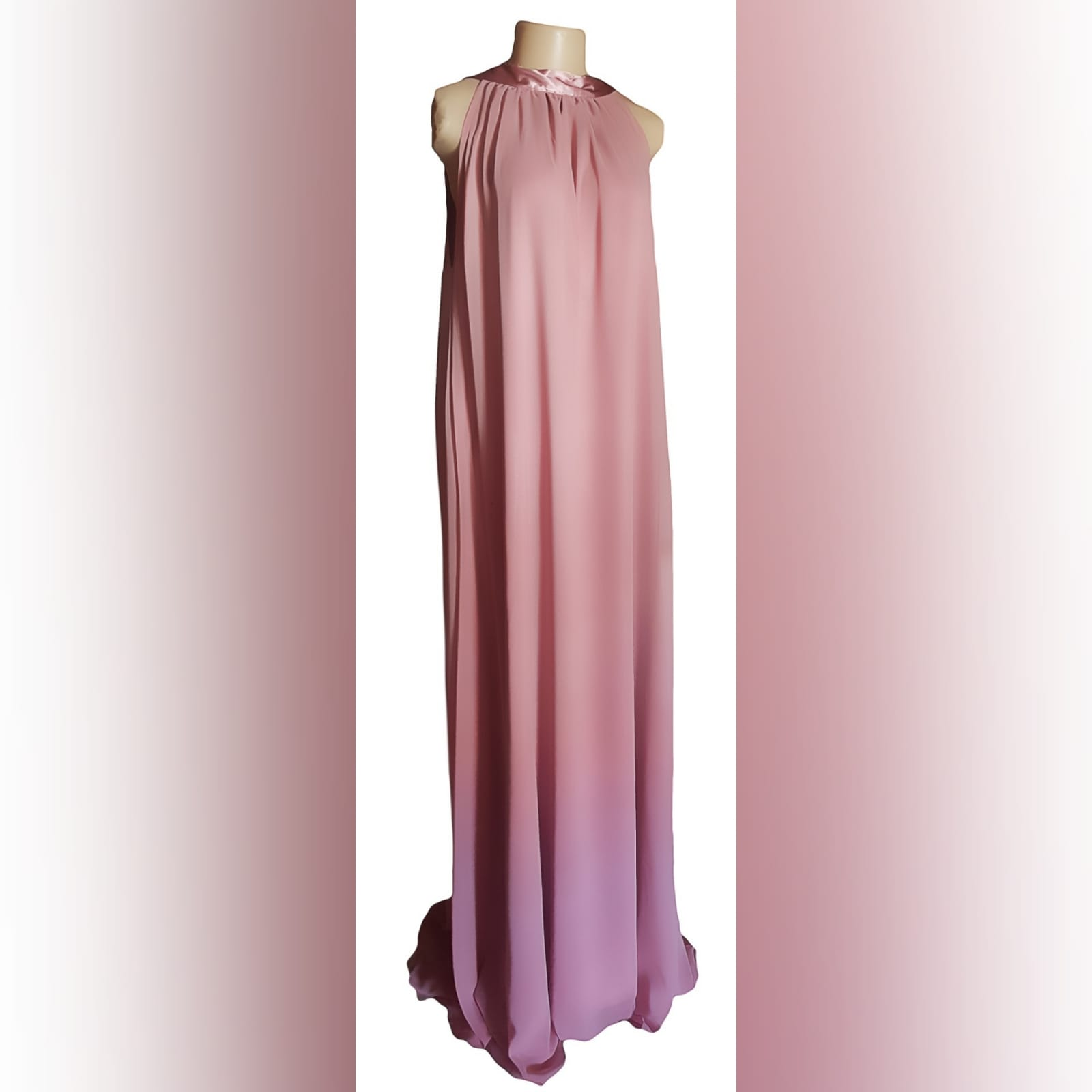Long pink chiffon ceremony dress created for a wedding 9 long pink chiffon ceremony dress created for a wedding, a client in south africa. A long flowy dress with a satin ribbon on the back neckline. With a matching lipstick bag