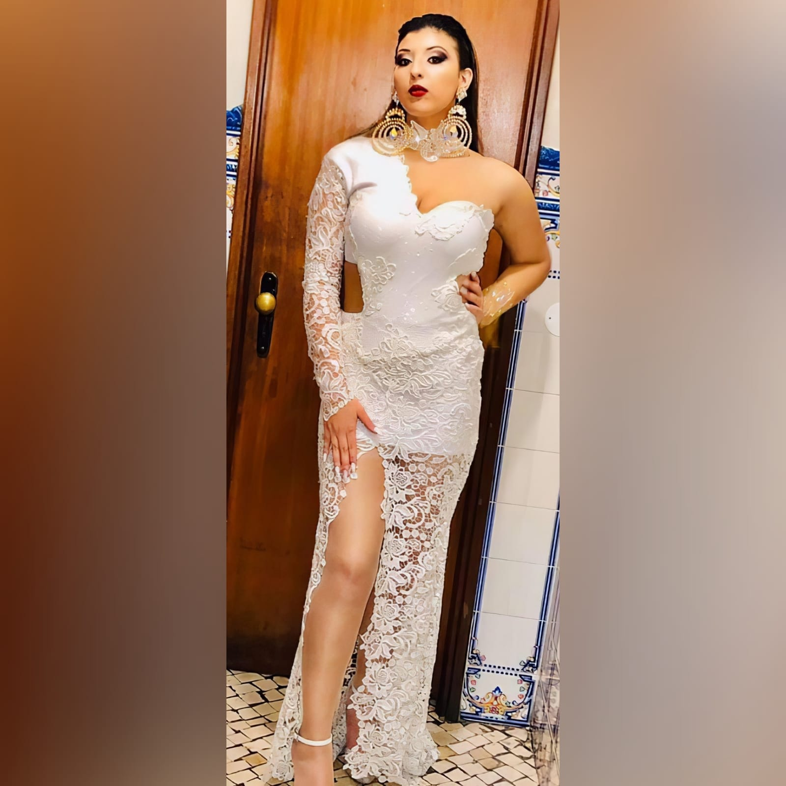 White lace long, sexy evening dress - Marisela Veludo 2020 (7)