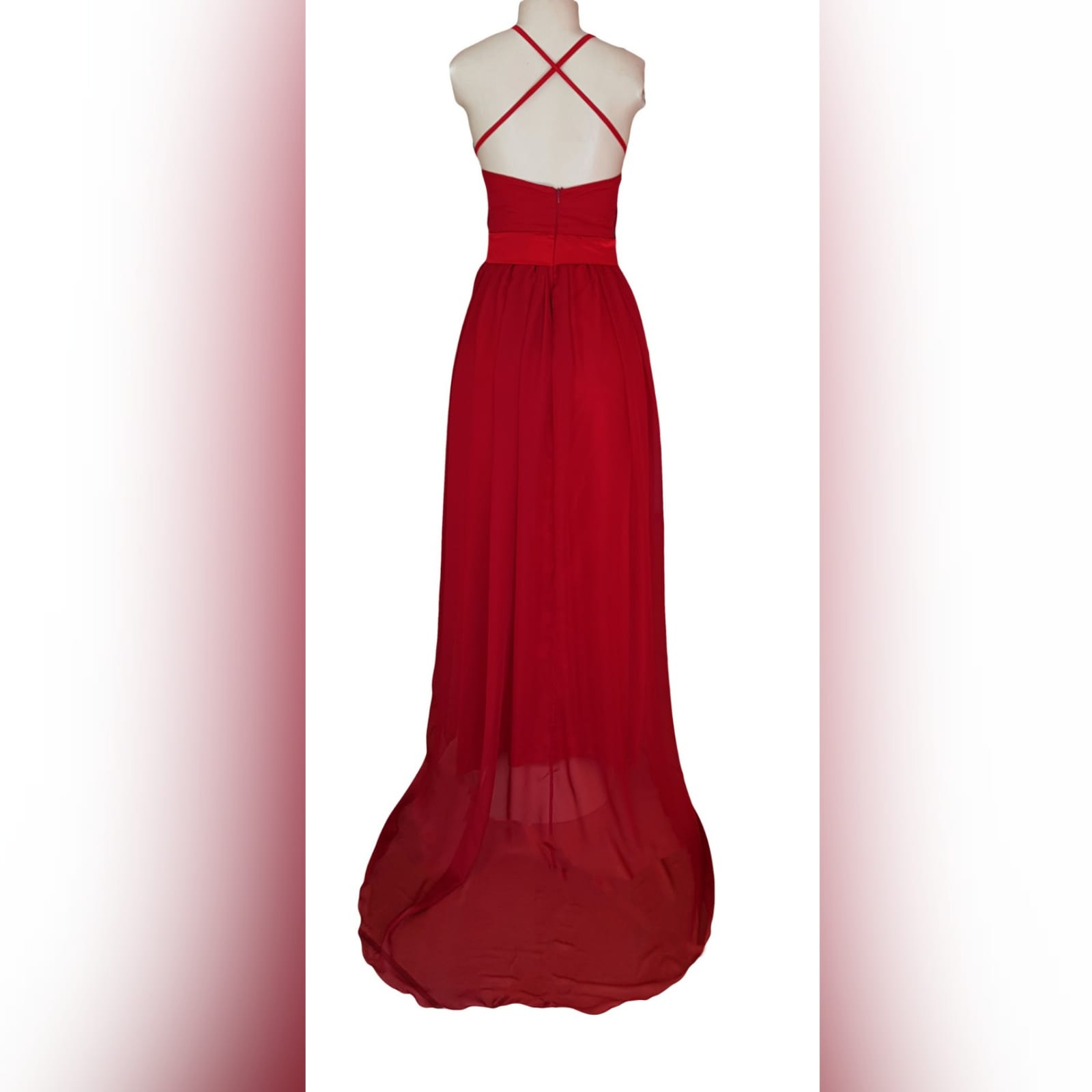 Elegant and sexy red long chiffon evening dress 5 an elegant and sexy red long chiffon evening dress with a v neckline. Open back with thin crossed straps. 2 high sheer slits and a train.