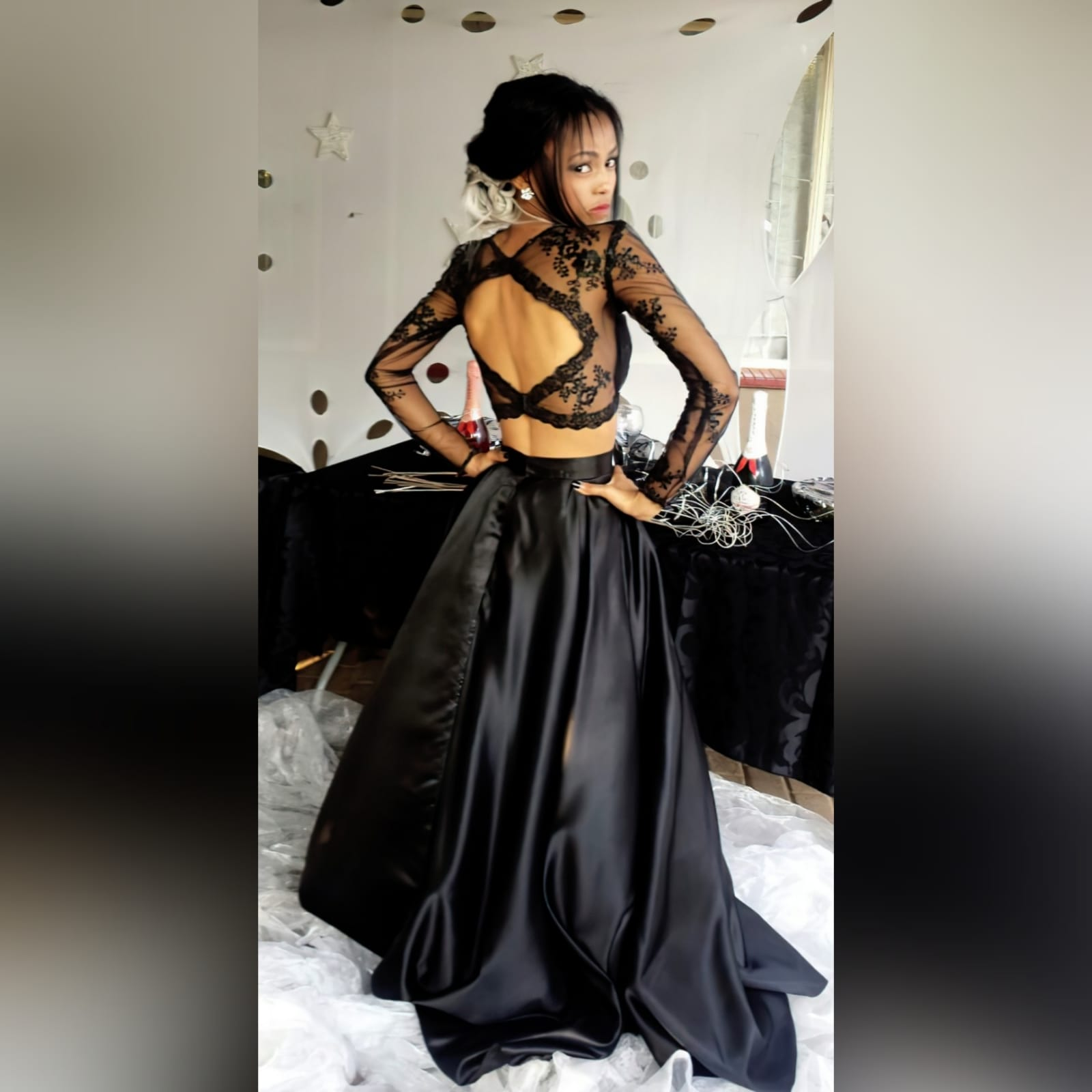 2 piece black prom dress with lace top 1 my client looked stunning in the 2 piece black prom dress i created for her. A lace top with sheer neckline and long sleeves, with a diamond shape opening. With a wide, flowy duchess's satin skirt