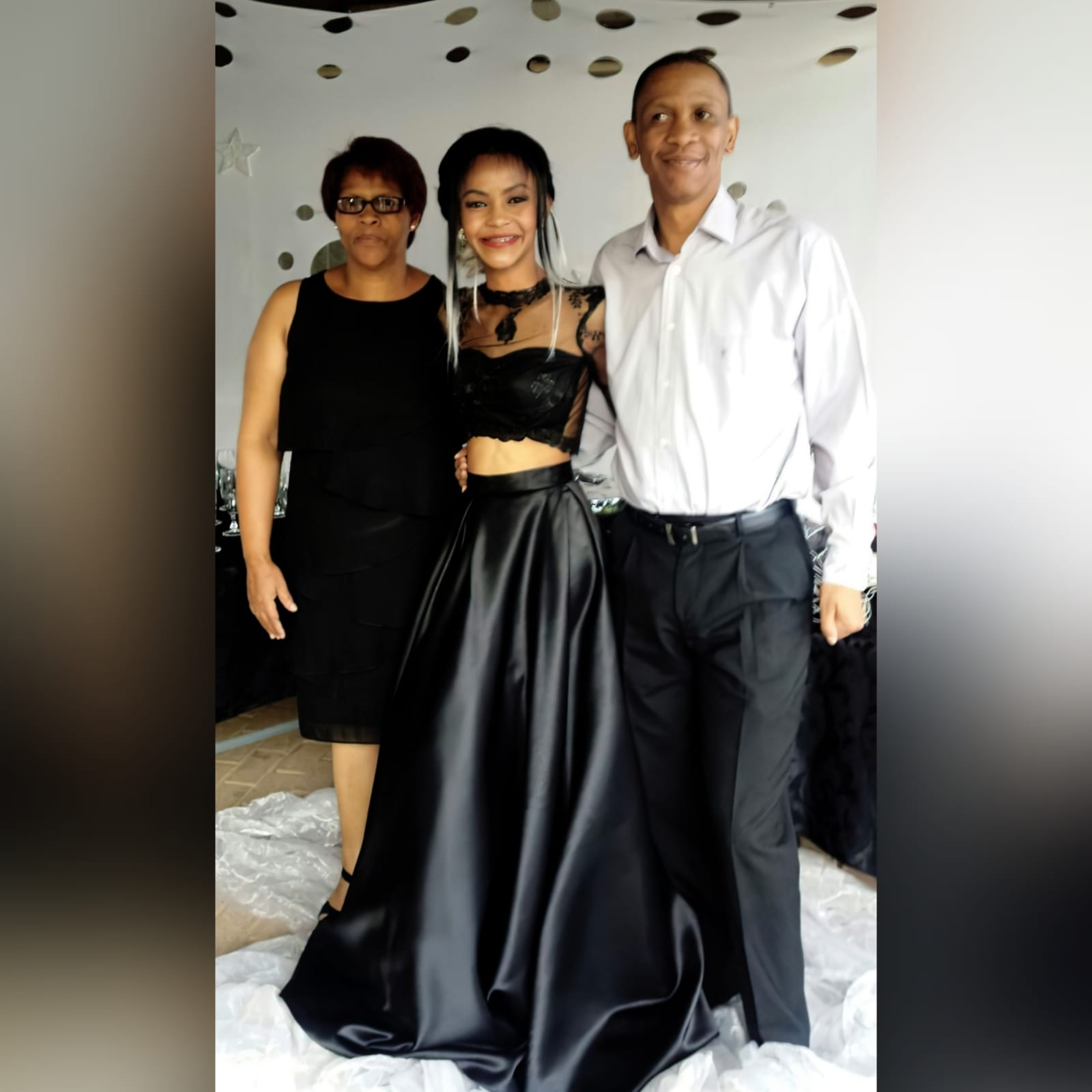 2 piece black prom dress with lace top 3 my client looked stunning in the 2 piece black prom dress i created for her. A lace top with sheer neckline and long sleeves, with a diamond shape opening. With a wide, flowy duchess's satin skirt