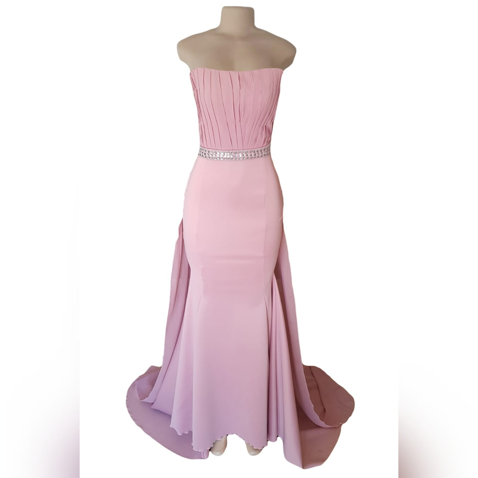Dusty pink soft mermaid prom dress with a pleated bodice 12 dusty pink soft mermaid prom dress with a pleated bodice, with a train. Extra detachable chiffon train with a beaded belt and removable shoulder straps