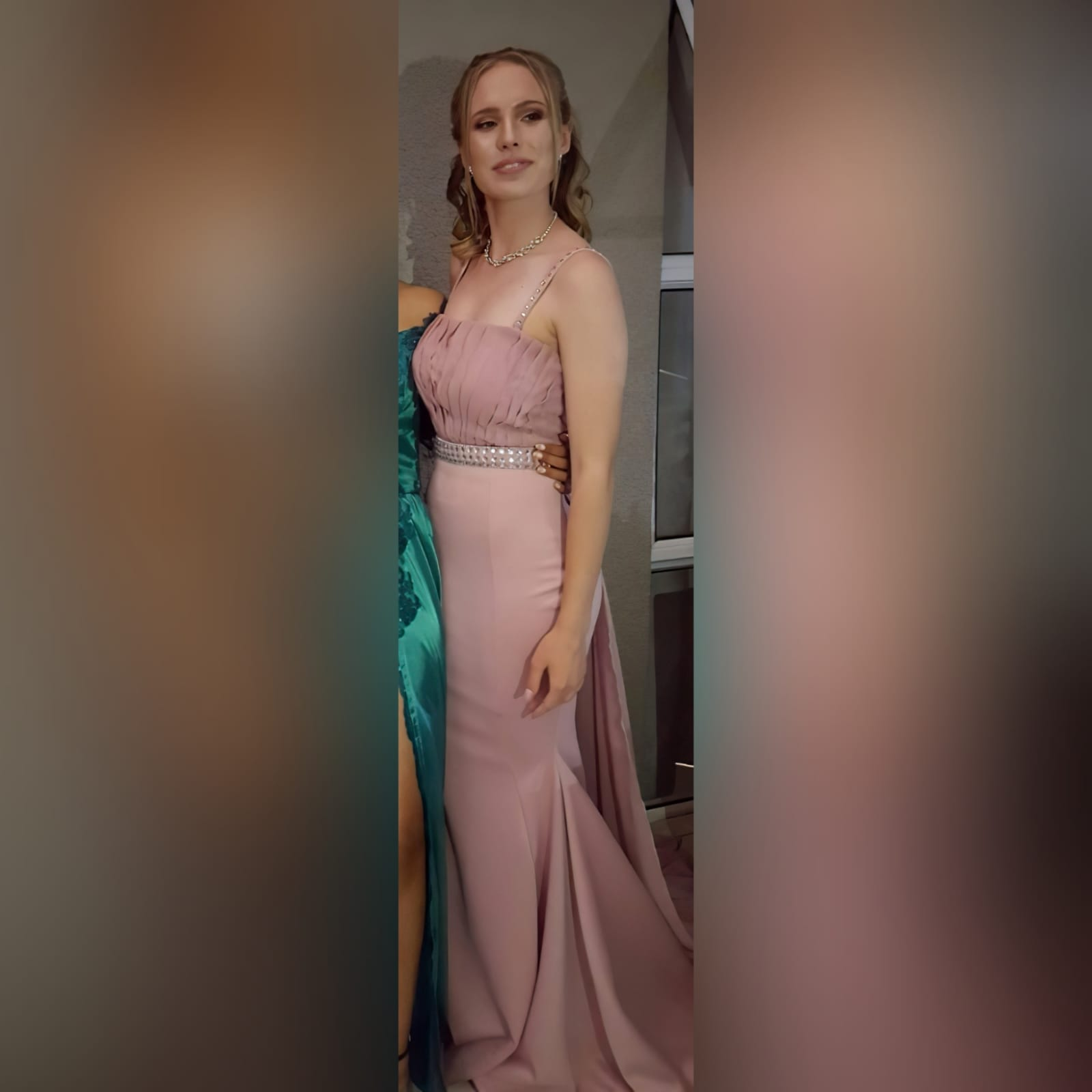 Dusty pink soft mermaid prom dress with a pleated bodice 1 dusty pink soft mermaid prom dress with a pleated bodice, with a train. Extra detachable chiffon train with a beaded belt and removable shoulder straps