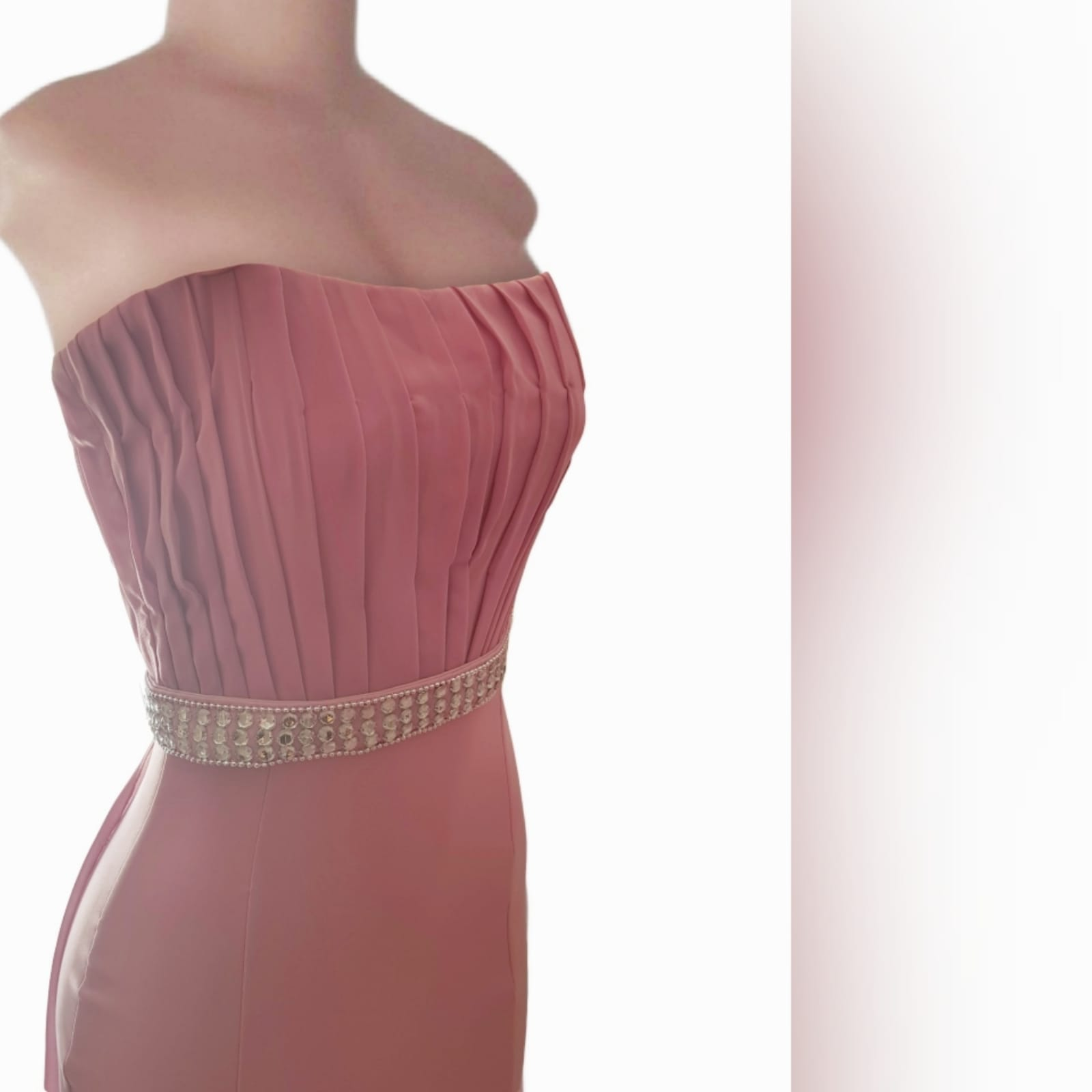 Dusty pink soft mermaid prom dress with a pleated bodice 11 dusty pink soft mermaid prom dress with a pleated bodice, with a train. Extra detachable chiffon train with a beaded belt and removable shoulder straps