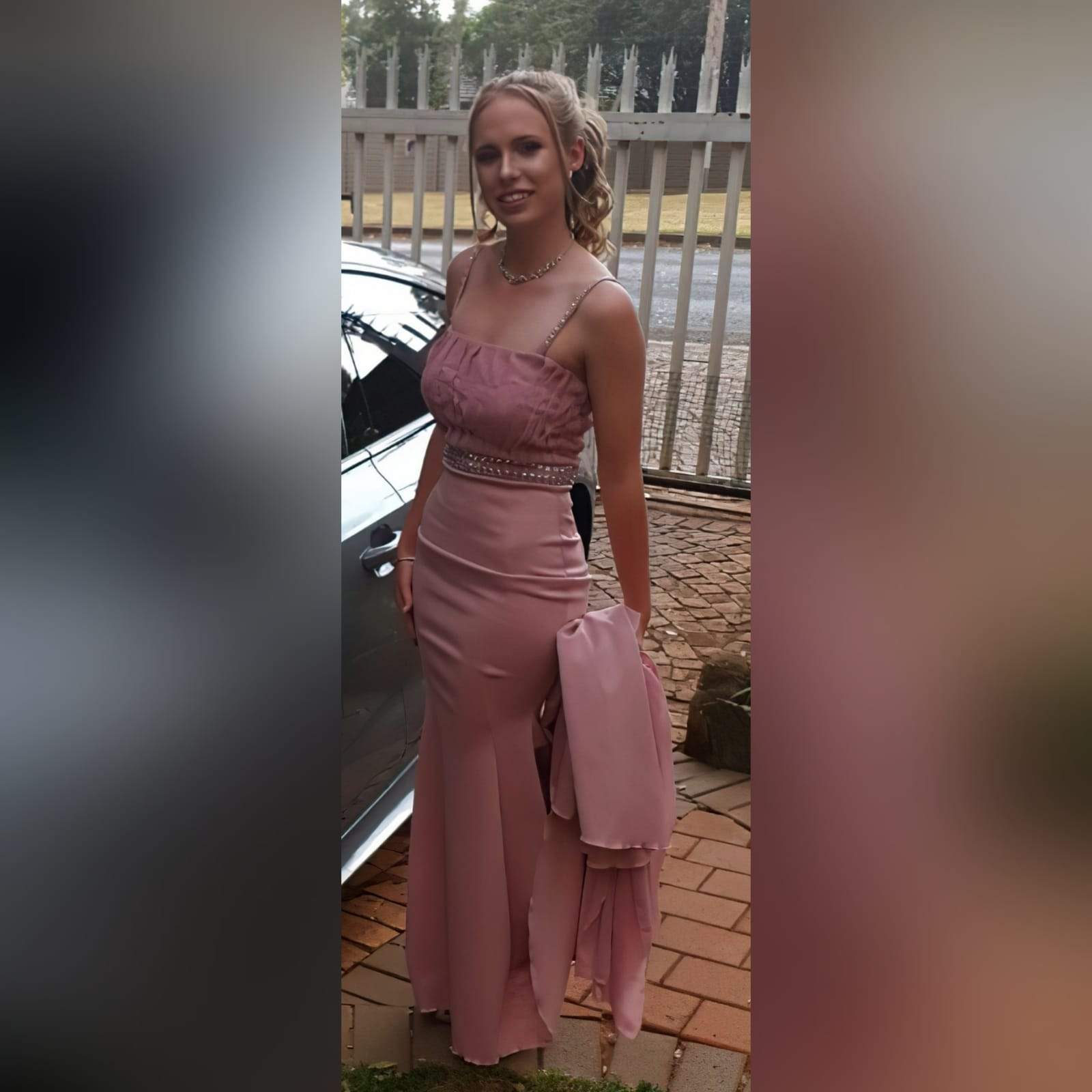 Dusty pink soft mermaid matric dress with a pleated bodice 8 dusty pink soft mermaid matric dress with a pleated bodice, with a train. Extra detachable chiffon train with a beaded belt and removable shoulder straps