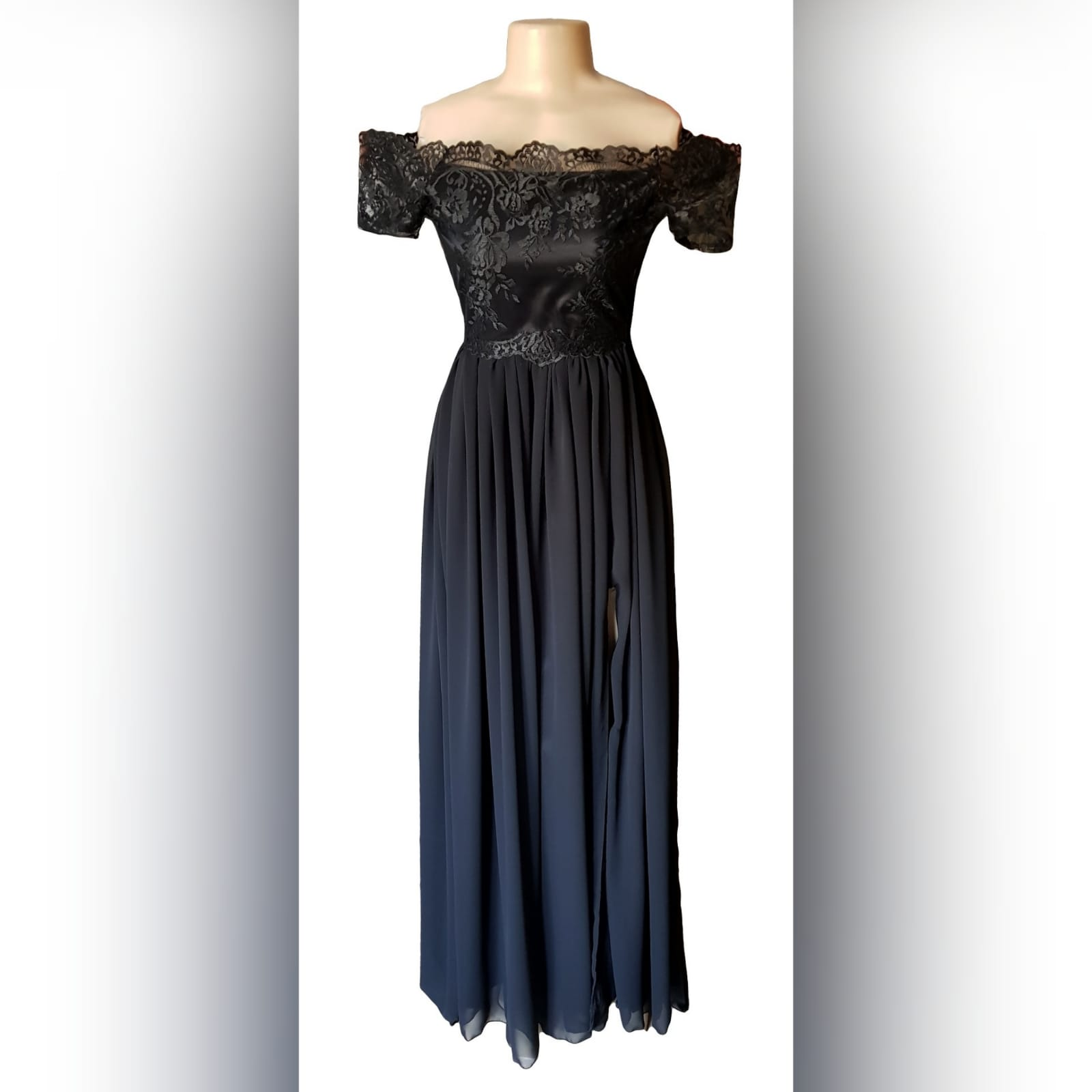 Long black prom dress with gathered chiffon 4 simple long black prom dress with gathered chiffon and a slit. Off shoulder lace bodice with a sheer back detailed with buttons and short cap sleeves.