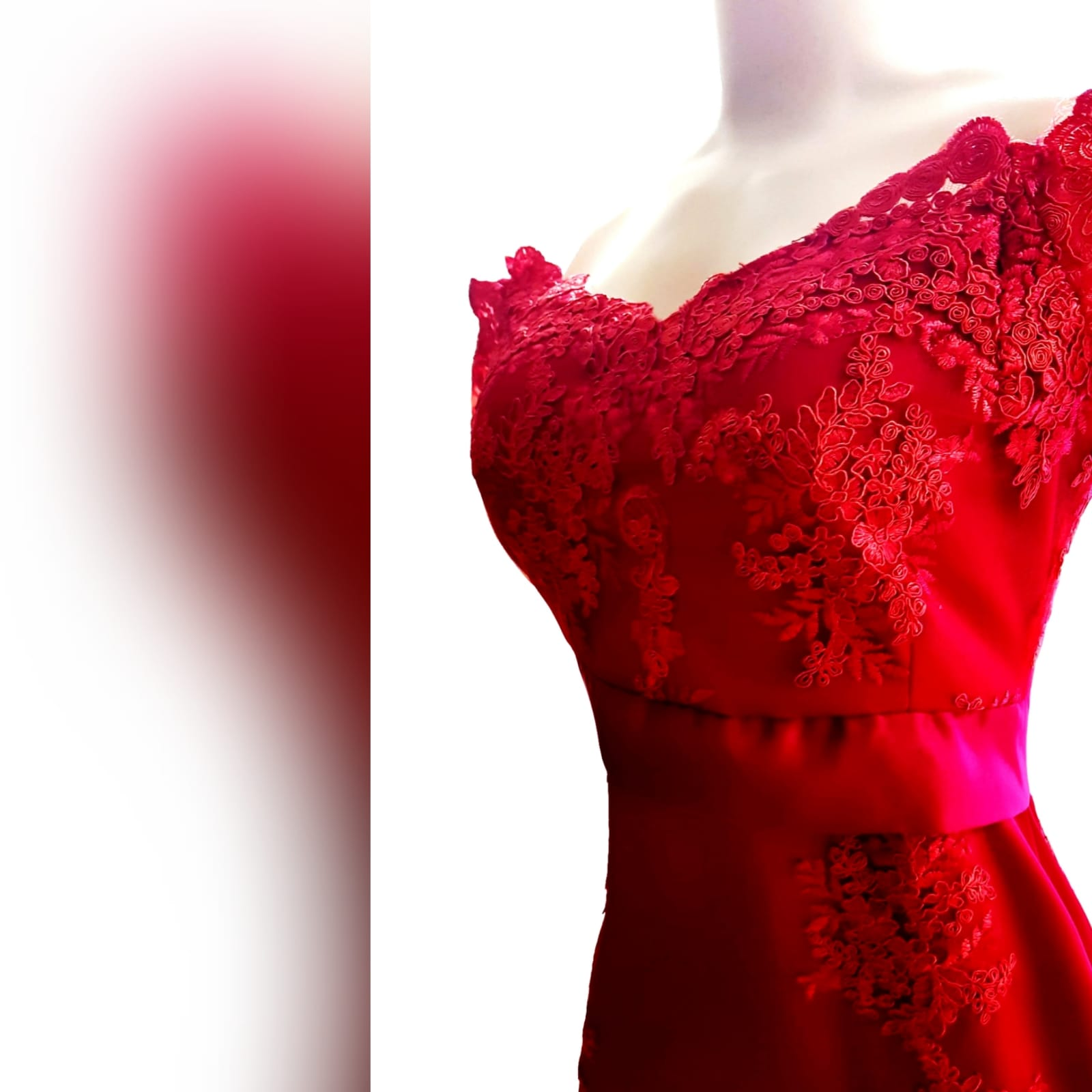 Gorgeous red soft mermaid dress 8 <blockquote><em>you don't have to play masculine to be a strong woman. – mary elizabeth winstead</em></blockquote> a gorgeous red soft mermaid dress created for my client's special event. A dress that turns heads, due to its amazing colour, elegance and sophistication. An off shoulder neckline with off shoulder cap sleeves in lace, with button detail running down the back. A satin belt accentuates the waistline. A wide sheer lace train to add a sensual and dramatic look to the dress.