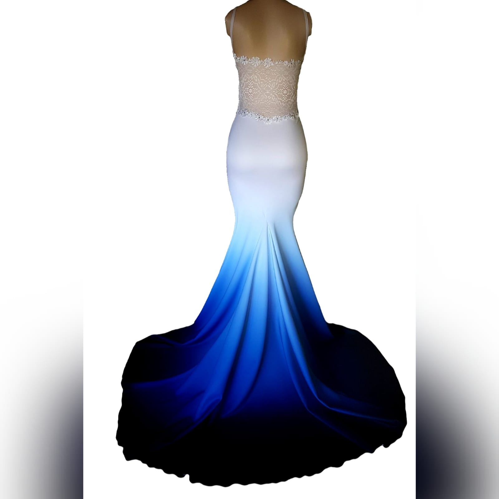 """Blue and white ombre mermaid dress with a train 4 <blockquote>""""don't you ever let a soul in the world tell you that you can't be exactly who you are"""" lady gaga</blockquote>a famous design of mine loved by many, created for another client🙂blue and white ombre mermaid dress with a train. With a low back covered in a translucent lace. Sweetheart neckline with thin shoulder straps, neckline detailed with lace and a touch of beads."""