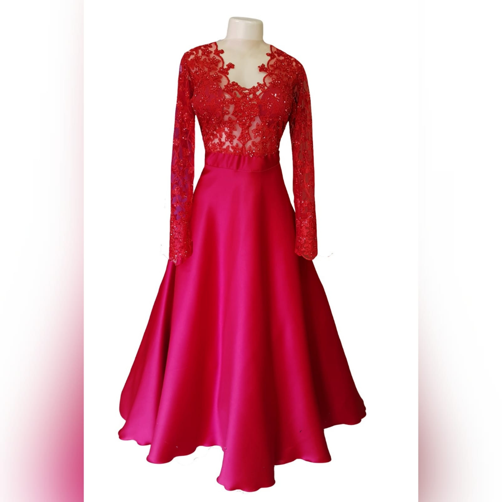 "Classic red lace and satin prom dress 10 <blockquote>""don't compromise yourself. You're all you've got. "" janis joplin</blockquote>a classic red lace and satin prom dress created for my client's special occasion. With a sheer lace and sleeves bodice with a touch of shine, and a row of buttons to finish off the sensual back design."