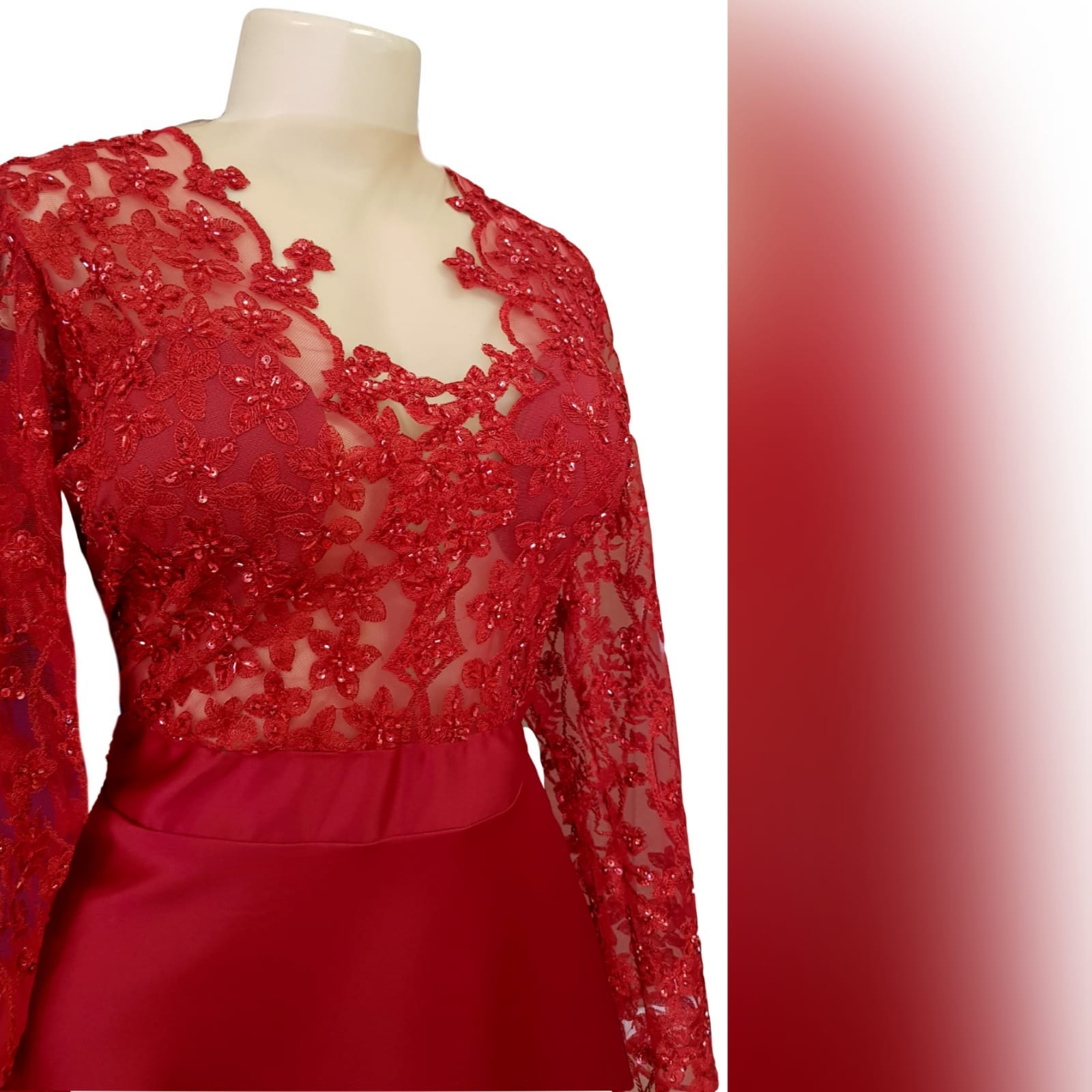 "Classic red lace and satin prom dress 8 <blockquote>""don't compromise yourself. You're all you've got. "" janis joplin</blockquote>a classic red lace and satin prom dress created for my client's special occasion. With a sheer lace and sleeves bodice with a touch of shine, and a row of buttons to finish off the sensual back design."