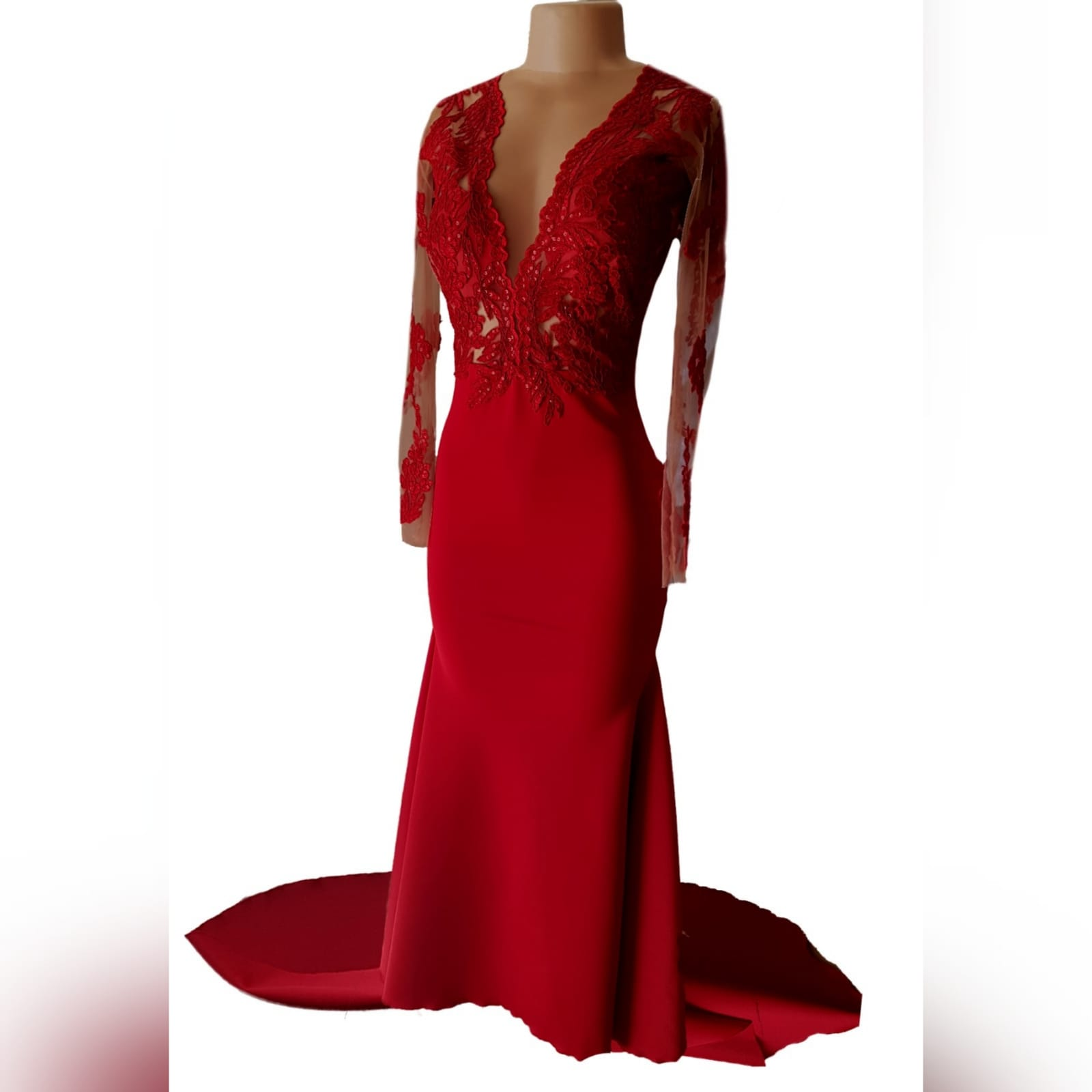 "Gorgeous red mermaid matric dance dress 9 <blockquote>""women are like teabags. We don't know our true strength until we are in hot water. "" eleanor roosevelt</blockquote> this gorgeous red mermaid matric dance dress designed and made for a client's special occasion, makes an entrance that will catch everyone's attention. With its bright colour and a lace bodice and sleeve with some bling and a train, you become the star of the night"