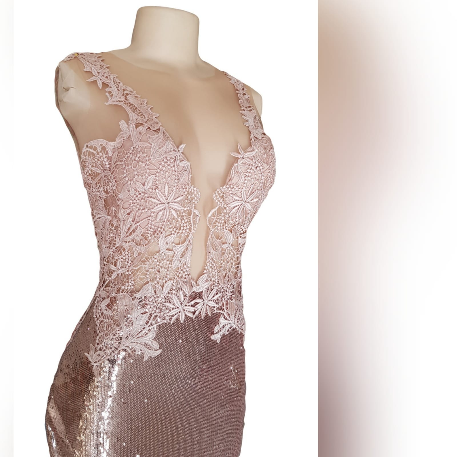 """Rose gold sequins mermaid prom dress with a lace bodice 5 <blockquote>""""make the most of yourself.... For that is all there is of you. """" ralph waldo emerson</blockquote> rose gold sequins mermaid prom dress with a lace bodice, custom made. This gorgeous gown, sparkles slightly adding a touch of drama and importance to the look. Creating an amazing effect when entering the party hall and hitting the dance floor"""