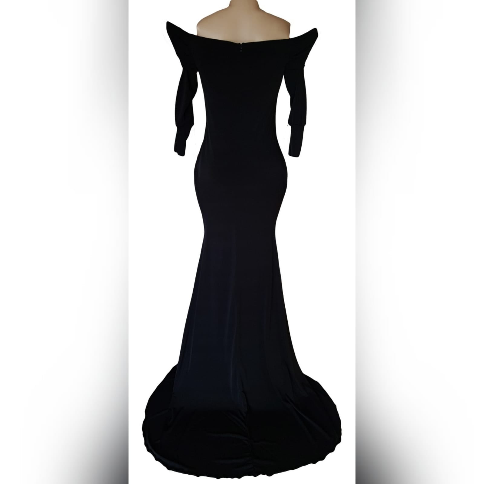 """Simple elegant off shoulder black dress 2 <blockquote>""""the woman who follows the crowd will usually go no further than the crowd. The woman who walks alone is likely to find herself in places no one has ever been before. """"albert einstein</blockquote>a simple elegant off shoulder black dress created for my client to fit her like a glove. The perfect black dress to go to any formal event."""