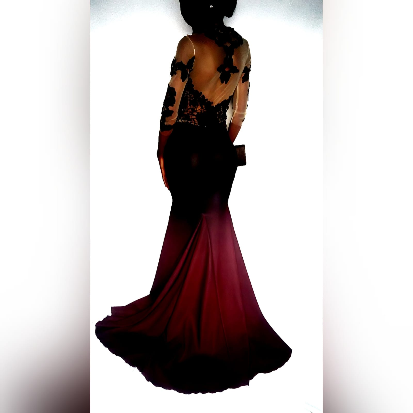 "Unique elegant mermaid evening dress 3 <blockquote>""oh, never mind the fashion. When one has a style of one's own, it is always twenty times better"", margaret oliphant</blockquote>a personalized prom dress created to suit my clients needs. This unique elegant mermaid evening dress has a 2 tone ombre of burgundy fading into black. With a black lace illusion bodice and 3/4 sleeves#mariselaveludo #passion4fashion #fashiondesigner #fashion #custommadedress #promdress #burgundyandblackdress #mermaiddress #galadress #eveningdress #customhighfashion #ombredress"