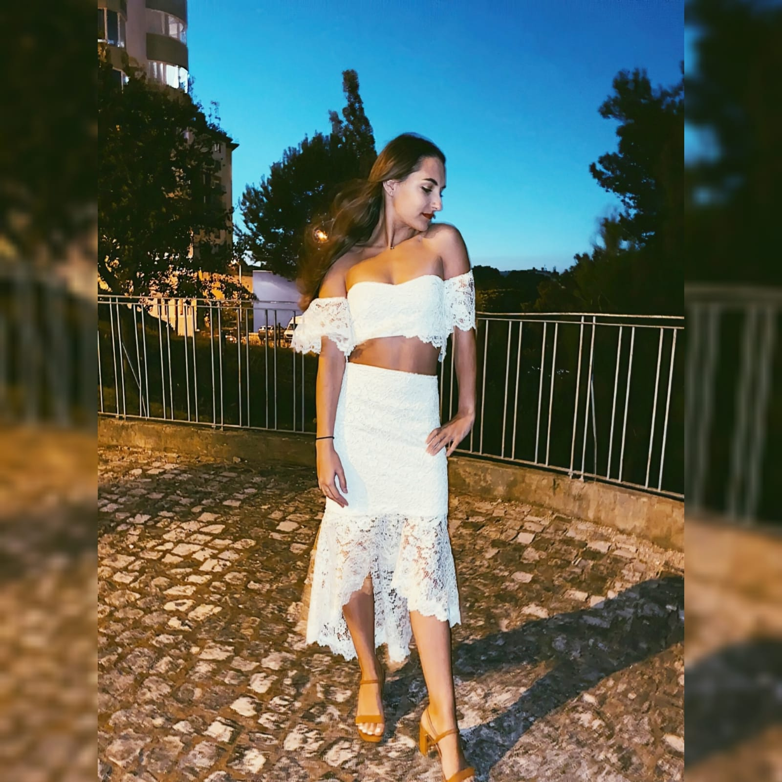 "💃 fun white lace 2 piece outfit 💃 1 <blockquote>""the most beautiful thing that a women can wear is her own confidence. ""</blockquote>this smart casual 2 piece dress was designed and made for my client's birthday dinner here in portugal lisbon 💃a fun white lace 2 piece outfit , with an off shoulder lace crop top and a hi - lo lace skirt. A versatile outfit as for example, the top can be worn several times with jeans, pants etc. #passion4fashion #mariselaveludo #2piecedress #croptop #whitelaceoutfit #lace #fashion #custommadedress #personalizeddress #smartcasualoutfit"