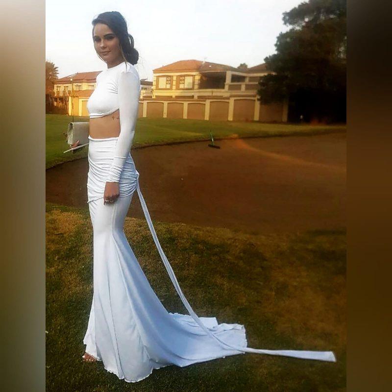 2 piece white sexy formal dress - Marisela Veludo (2)