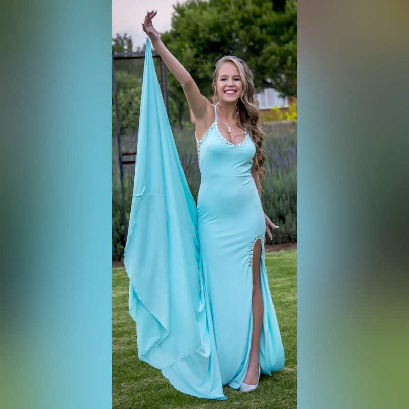 Aqua blue and silver prom dress (6)