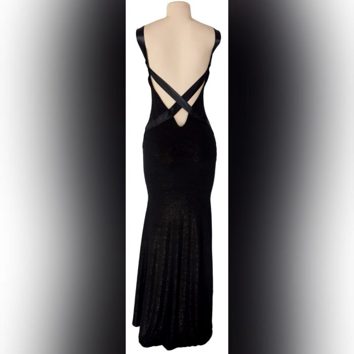 Black shimmer long gala evening dress (4)