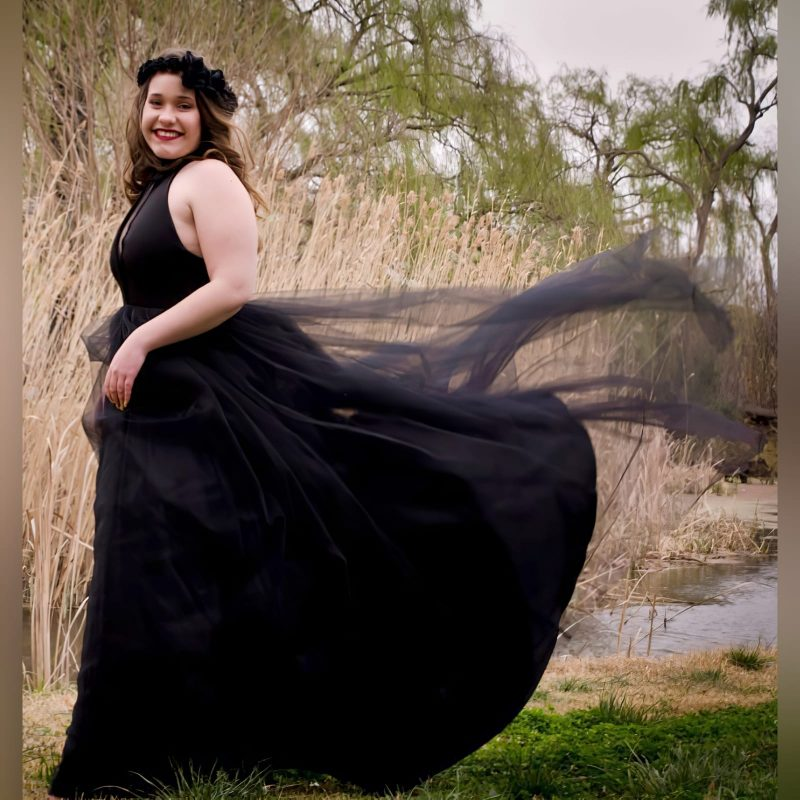 Black tulle prom ball gown (4)