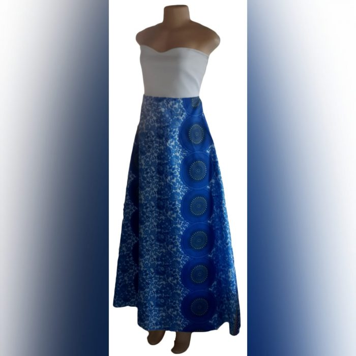 Blue & white modern traditional wedding dress (3)
