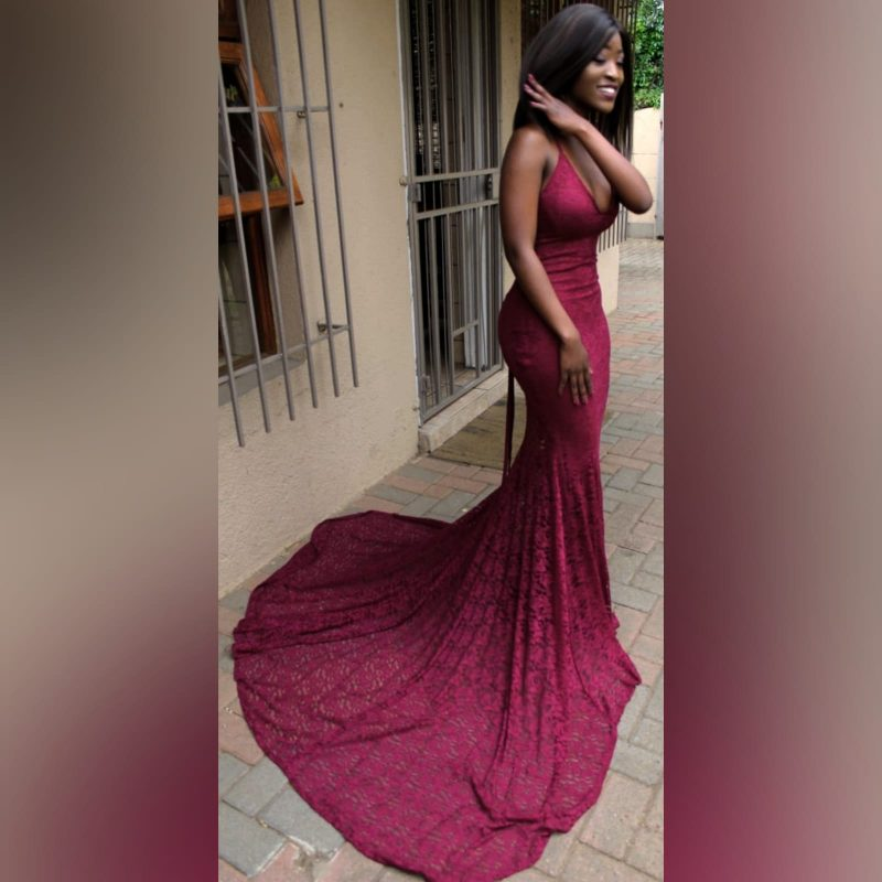 Burgundy fully laced soft mermaid prom dress (5)