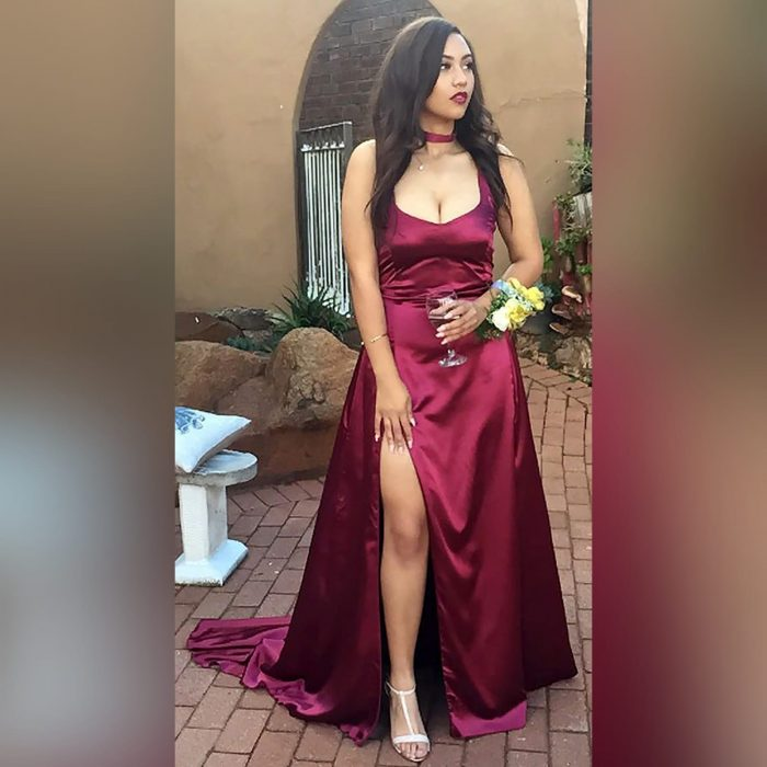 Burgundy satin flowy prom dress (4)