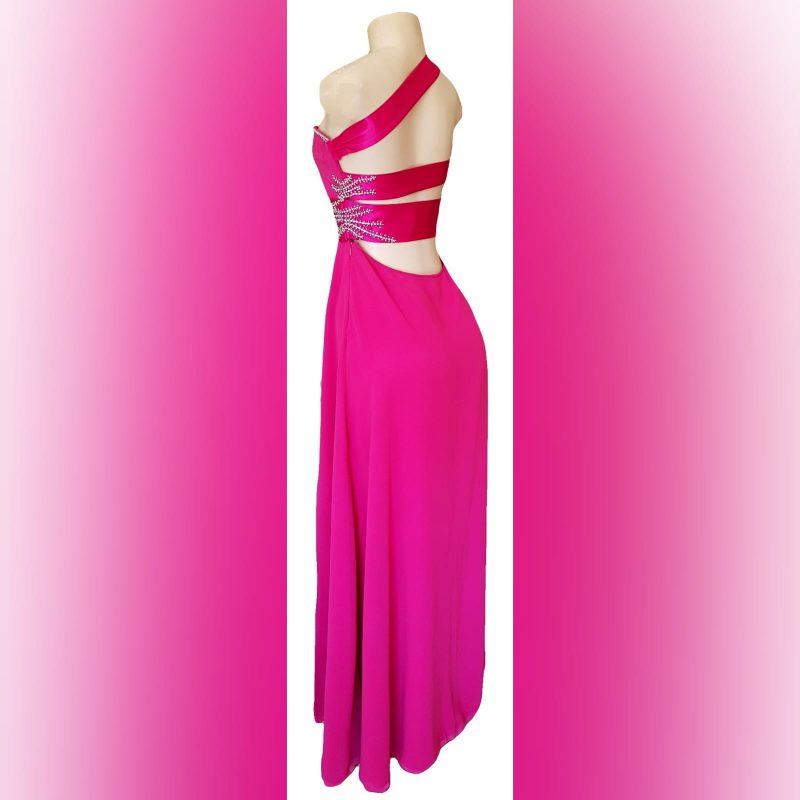 Cerise pink long flowy sexy evening dress (1)