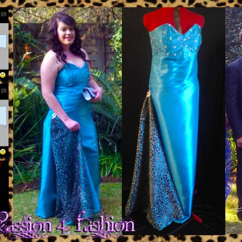 Turquoise blue taffeta prom dress with a silver beaded bodice
