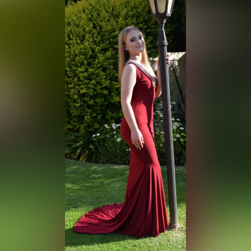 Deep red plunging neckline prom dress (6)