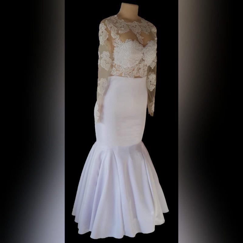 Illusion lace white mermaid wedding dress (1)