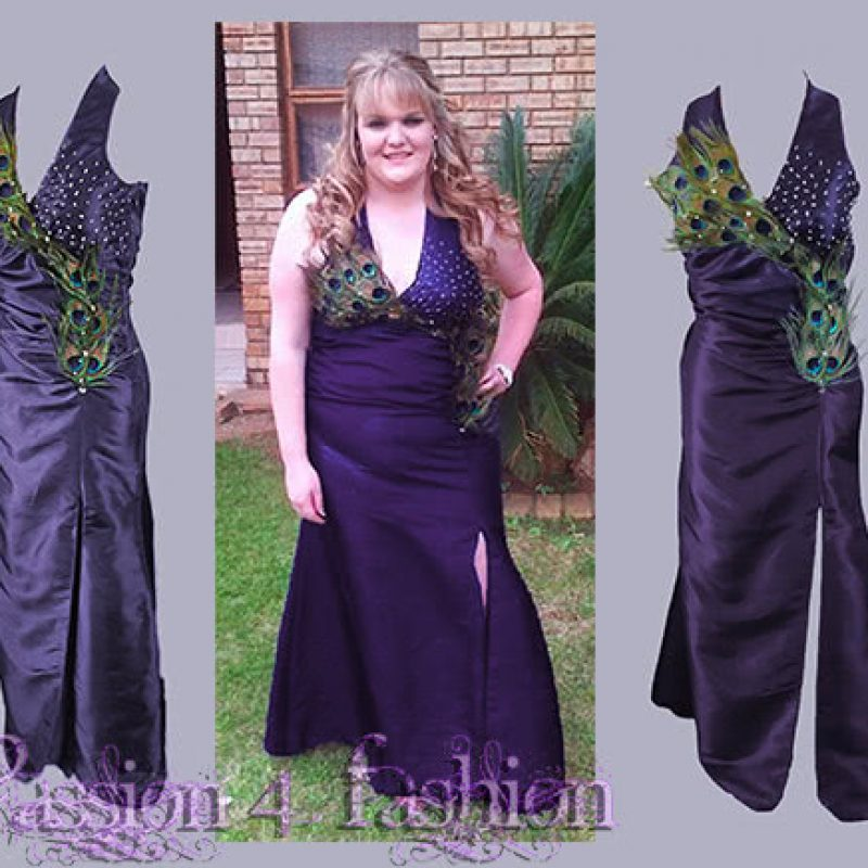 Purple taffeta long prom dress detailed with peacock feathers and silver beads