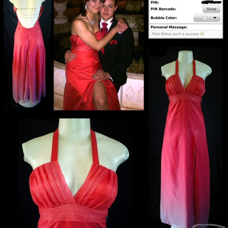 Red ombre shimmer chiffon long matric dance dress