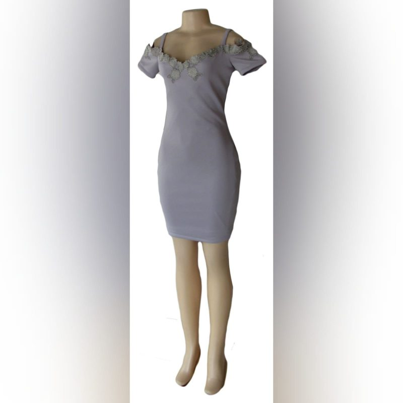 Light grey short fitted smart casual dress (1)