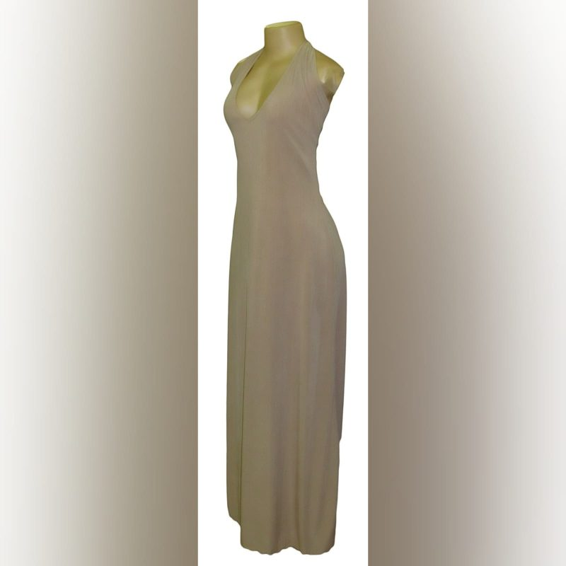 Long halter neck beige smart casual dress (3)