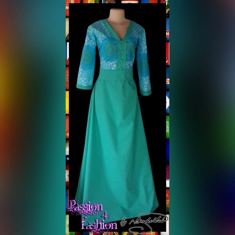 Mint green long modern traditional dress