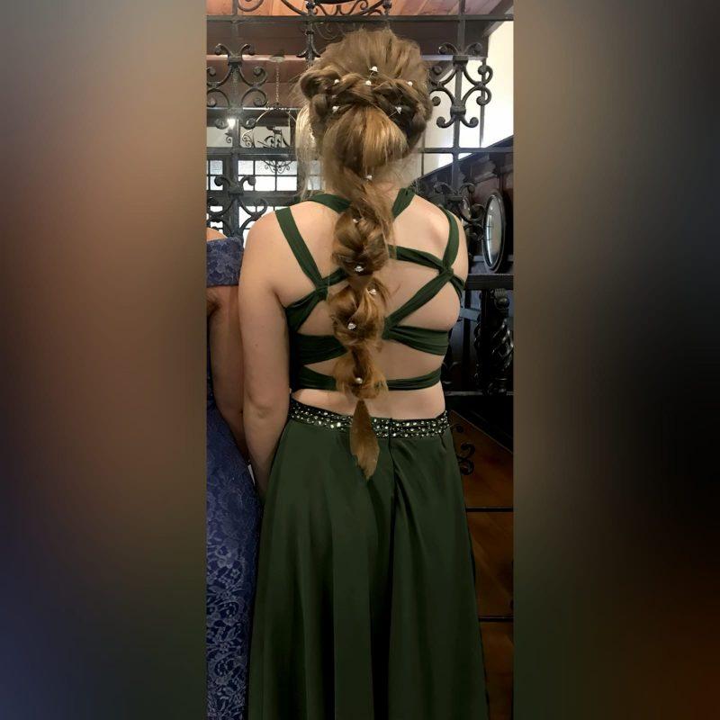 Olive green 2 piece prom dress (4)