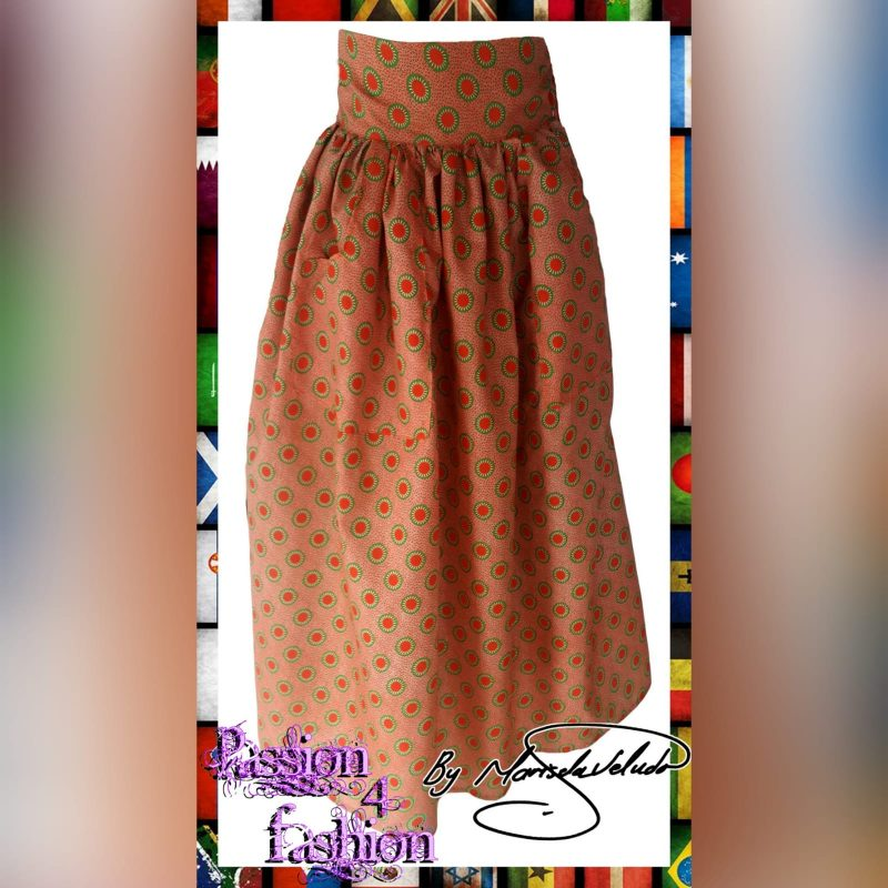 Orange traditional print long high waist skirt