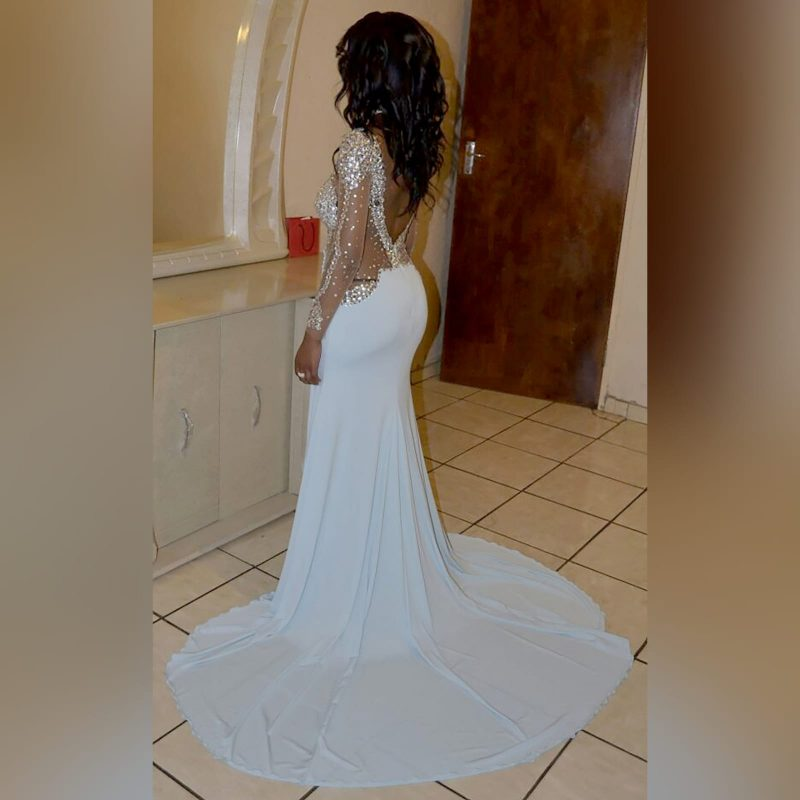 Pale blue and silver beaded prom dress (5)