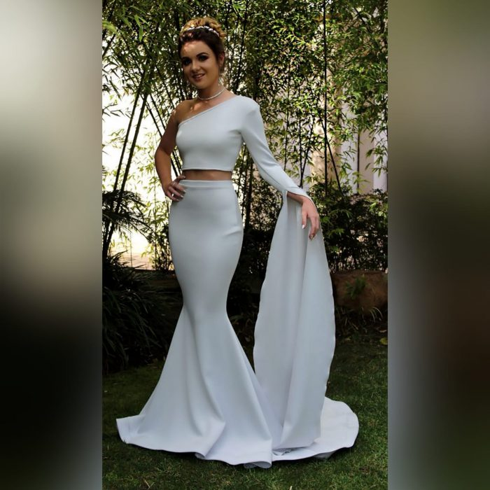 Pale grey 2 piece mermaid prom dress (1)