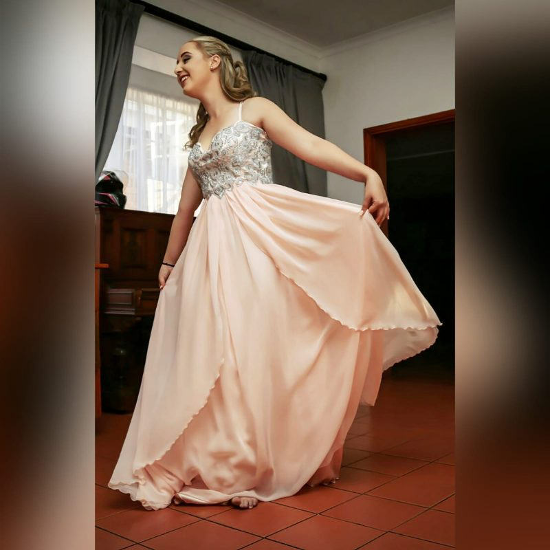 Peach and silver fun prom dress - Custom Made Dresses (1)
