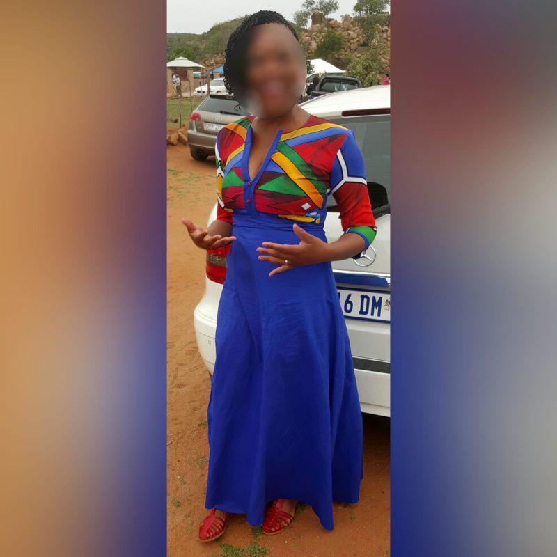 Royal blue Ndebele dress and matching Ndebele shirt (7)