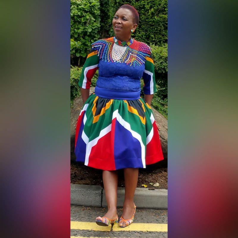 Royal blue SA Flag short traditional dress (5)