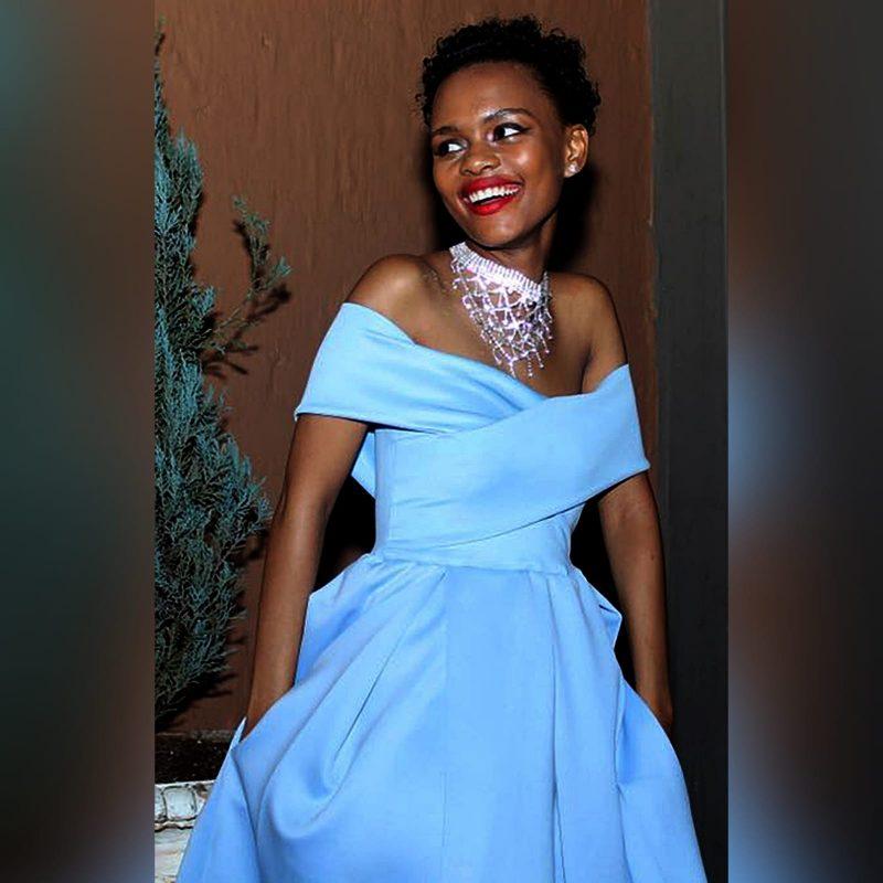 Short pale blue pleated cocktail dress (1)